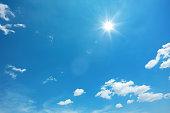 太陽と青い空に雲