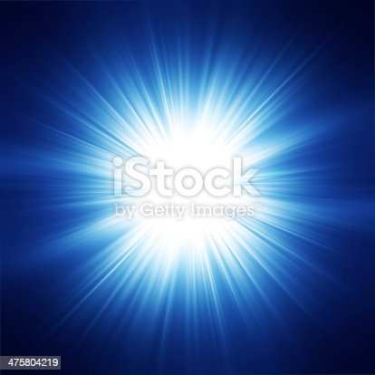 Sun on blue sky with lenses flare