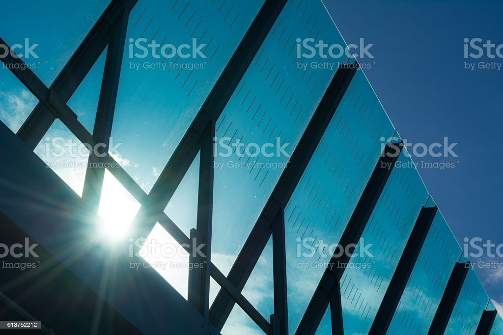 Sun on Detail Freeway Noise barrier Amsterdam IJburg stock photo