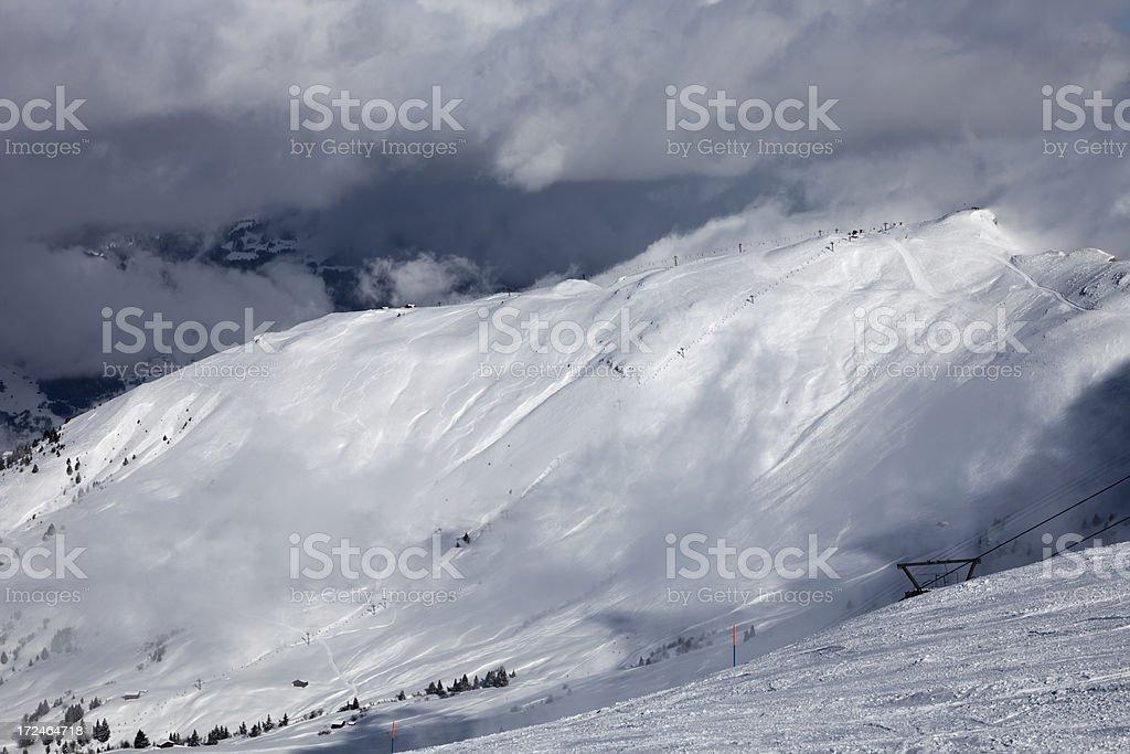 Sun on Ski Slope stock photo