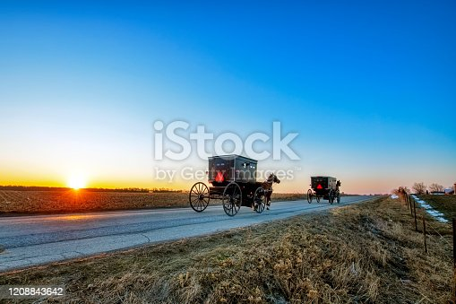 Sun on the Horizon with Two Amish Buggies on a Rural Indiana Road