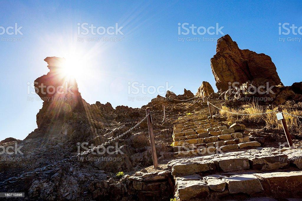 Sun over mountain stock photo