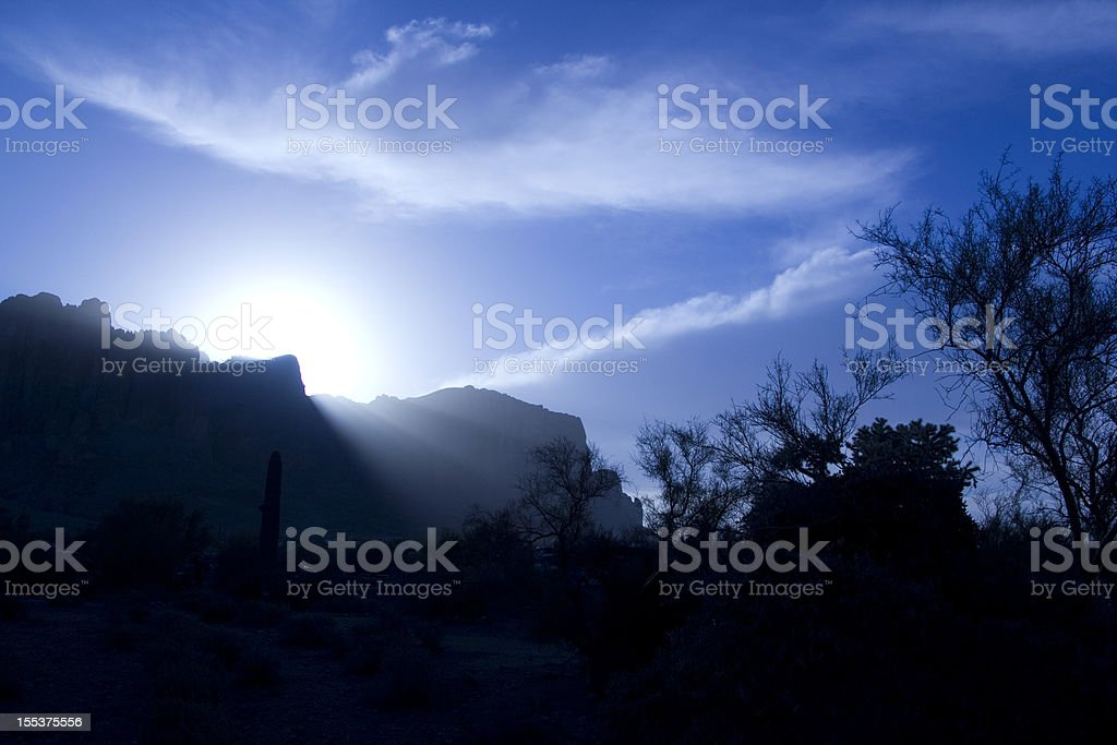 Sun over mountains royalty-free stock photo