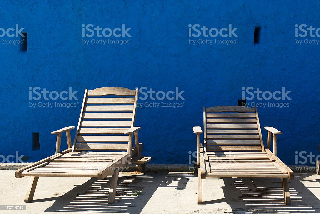 Sun Patio with two Deck Chairs royalty-free stock photo