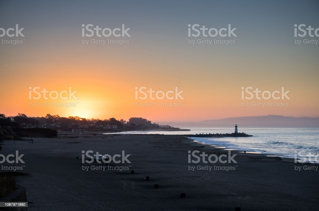 Sun Peeping Over Horizon in Santa Cruz stock photo