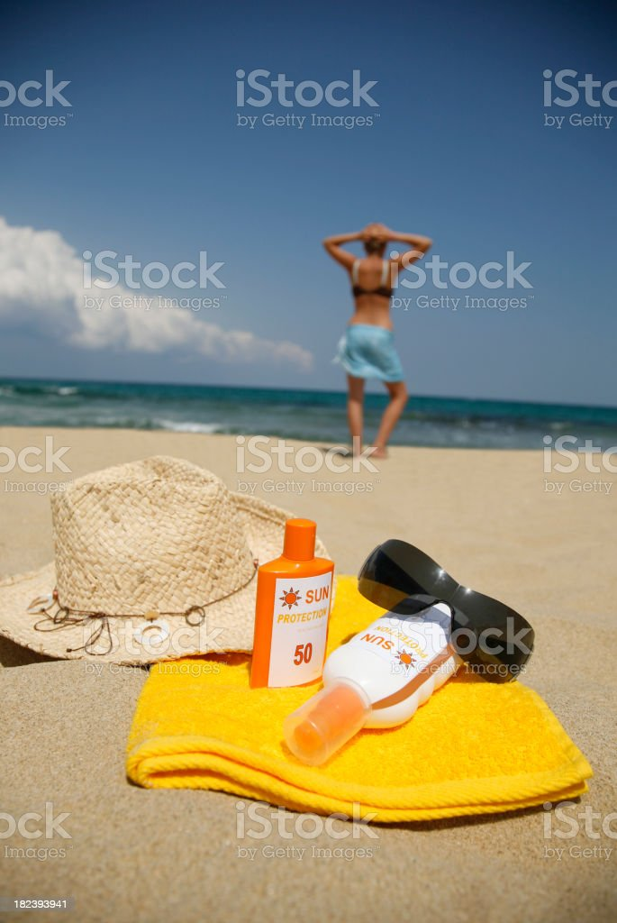 Sun Protection on the Beach royalty-free stock photo