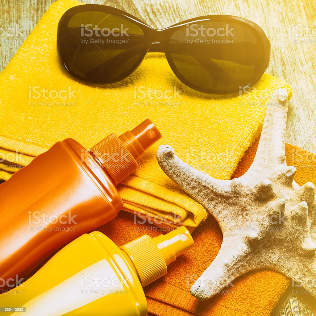 Sun protection products stock photo