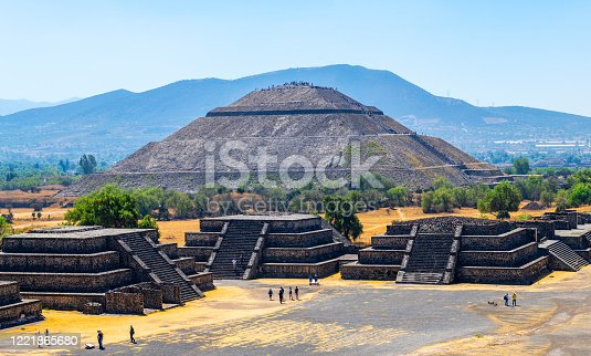 The Sun Pyramid and minor temples with unrecognizable tourists in Teotihuacan, Mexico City, Mexico.