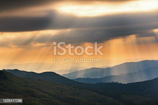 sun ray at mountain