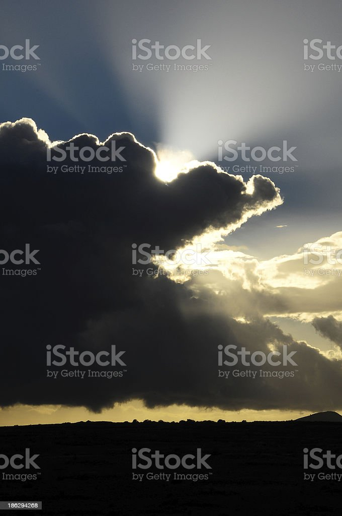 Sun Rays and Clouds royalty-free stock photo