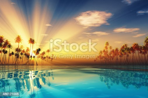 istock sun rays inside coconut palms 486121005