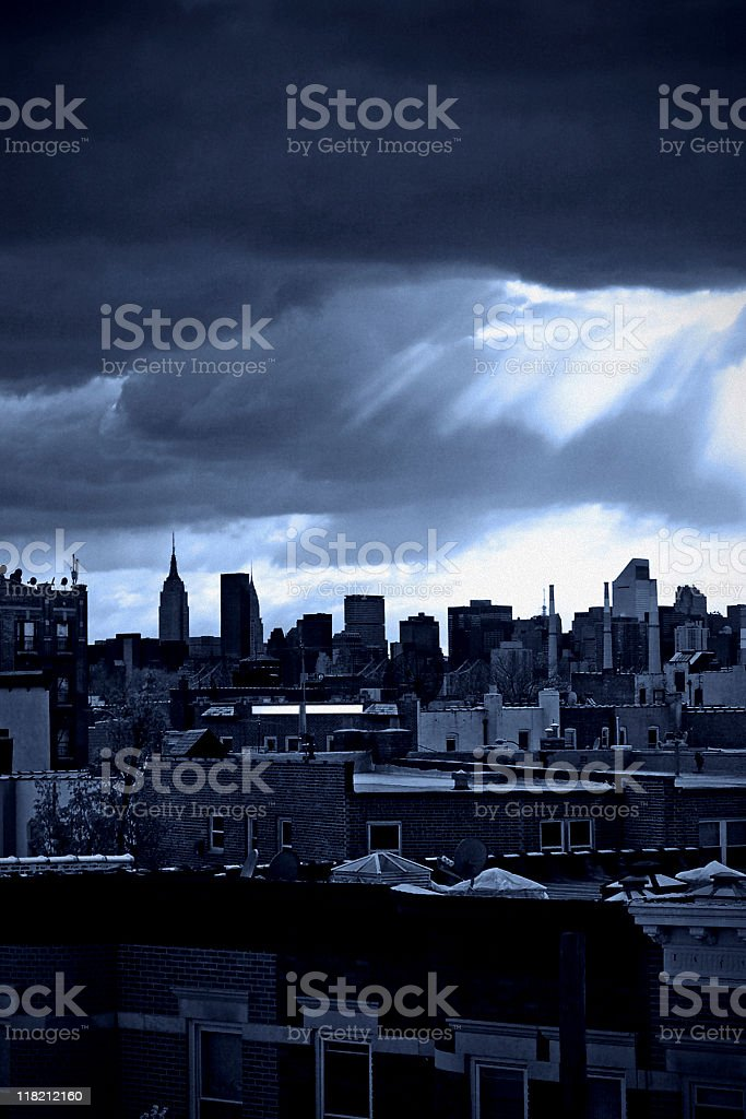 Sun Rays Over New York City stock photo