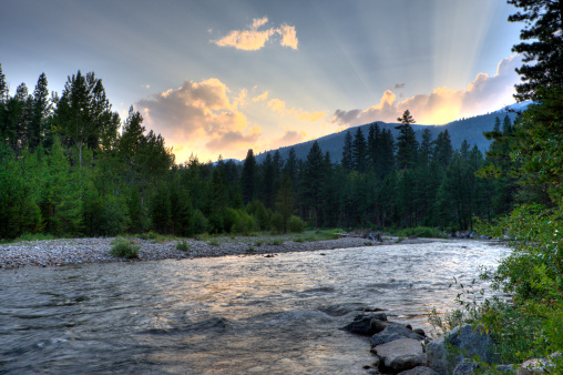 Sun Rays Over The River Stock Photo - Download Image Now