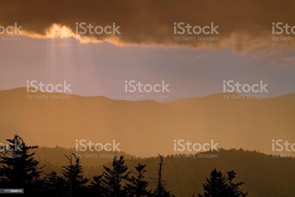 Sun Rays shine on Ridges at Dusk royalty-free stock photo