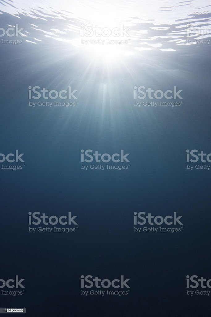 Sun rays underwater stock photo