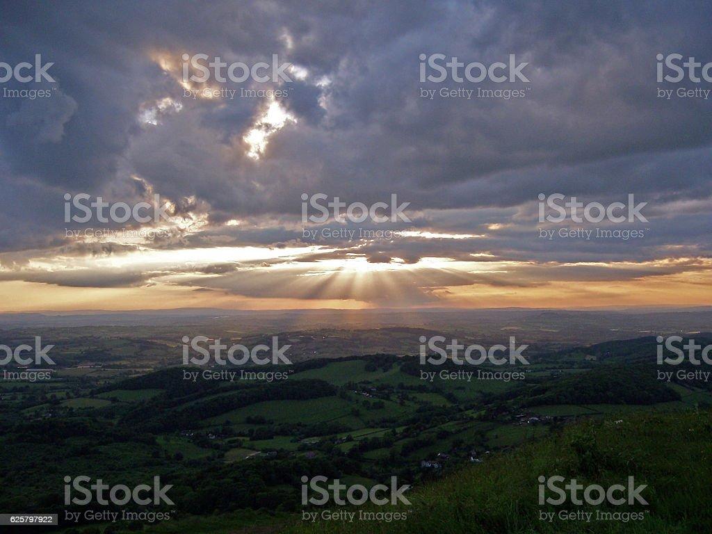 Sun Rays Up Malvern stock photo