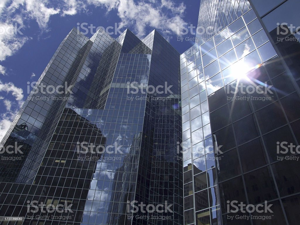 Sun Reflection in an office building stock photo