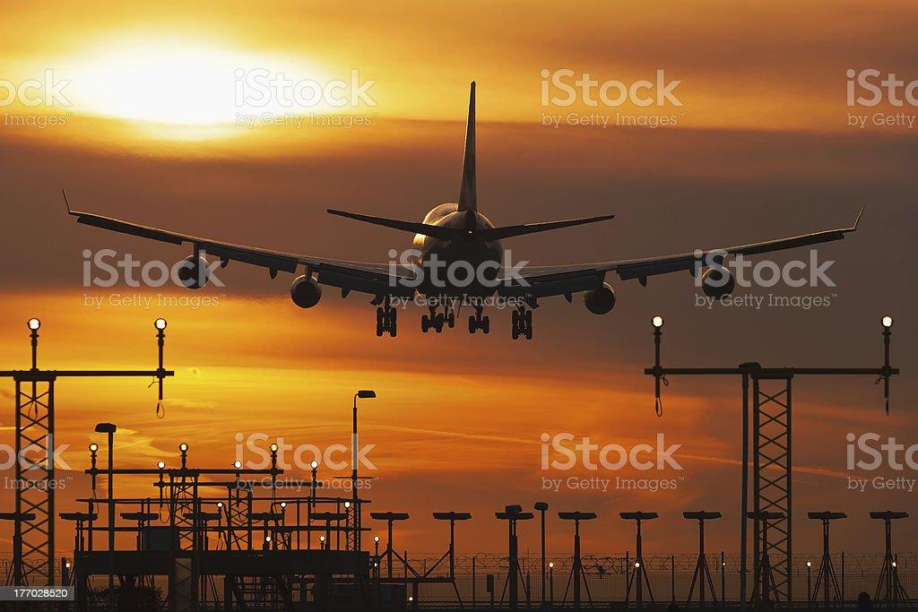 Sun rise at Heathrow stock photo