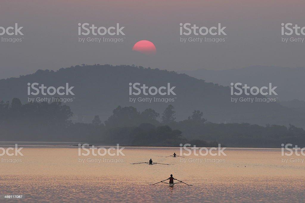 Sun rise at lake stock photo