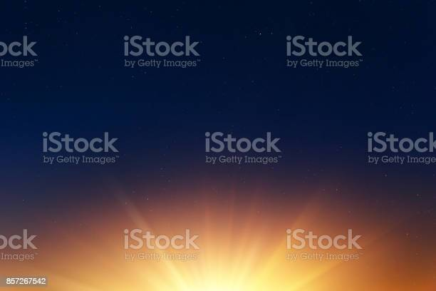 Photo of sun rise with empty dark night sky with stars for background