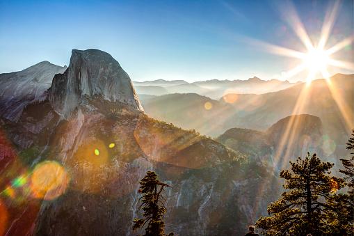 Sun Rising on Half Dome