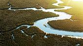 istock Sun Rising on Pascagoula River Delta - Aerial 1292670601
