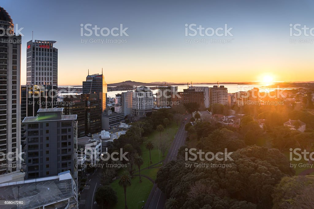 Sun Rising Over Auckland City Centre stock photo