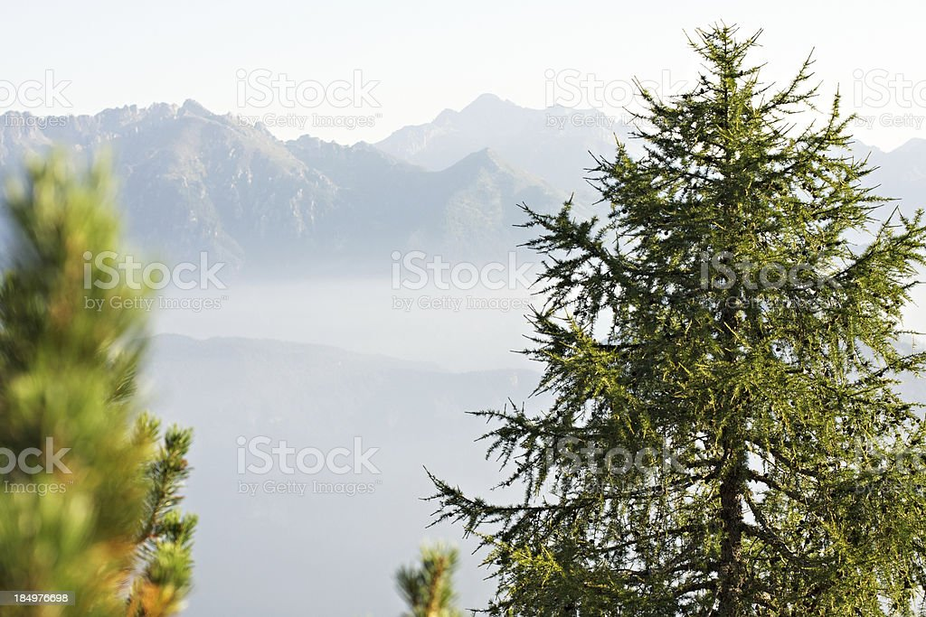 Sun rising over foggy valley. Asiago High Plateau. royalty-free stock photo
