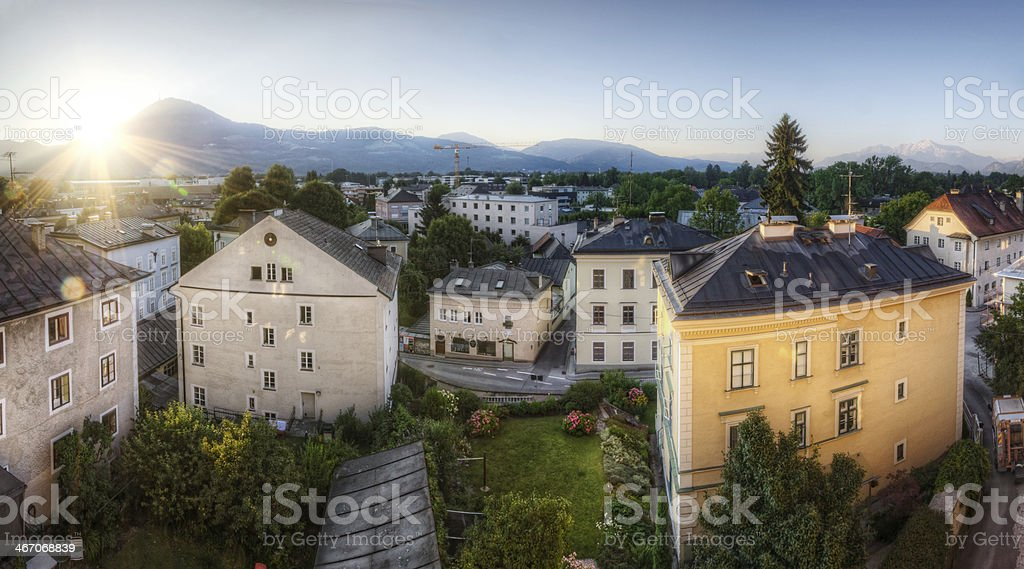 Sun Rising over Historic Neighborhood royalty-free stock photo