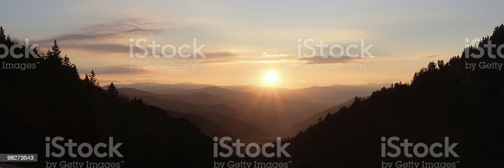 Sun Rising over Mountain Valley royalty-free stock photo