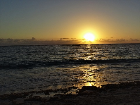 Sun rising over the Atlantic Ocean from Punta Cana in the Dominican Republic