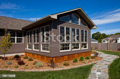 Exterior shot of a brand new sun room addition.