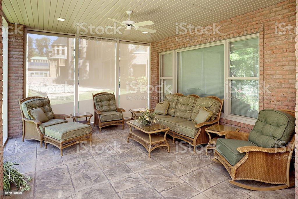 Camera sole mobili in vimini piastrelle sedia a dondolo per tutta