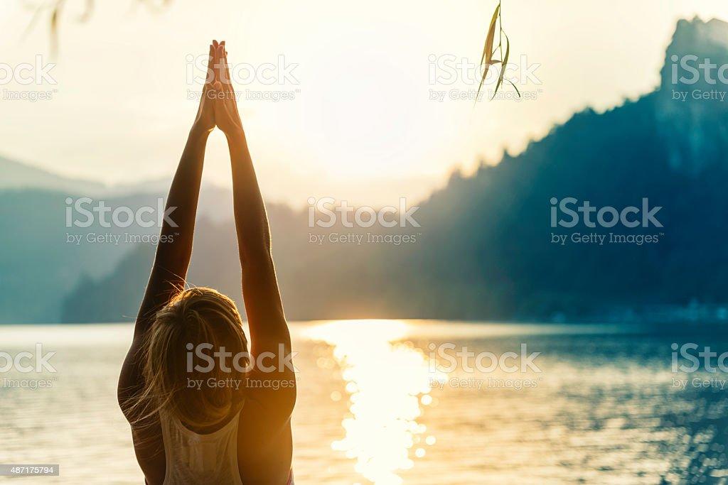 Sun Salutation stock photo