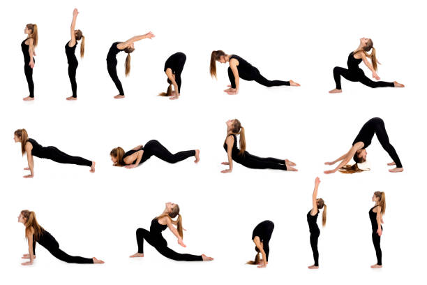 Sun salutation pose in steps Surya Namaskar or Sun salutation in 15 steps. About 25 years old, Caucasian blonde. sun salutation stock pictures, royalty-free photos & images