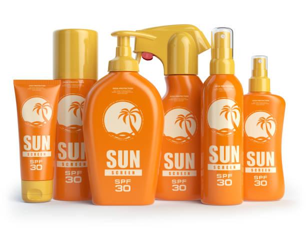 sun screen cream, oil and lotion containers. sun protection cosmetics - icon set healthy foto e immagini stock