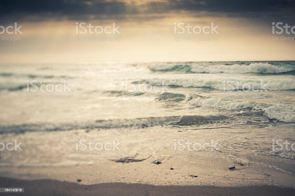 Sun set at Fistral beach,Newquay, Cornwall stock photo