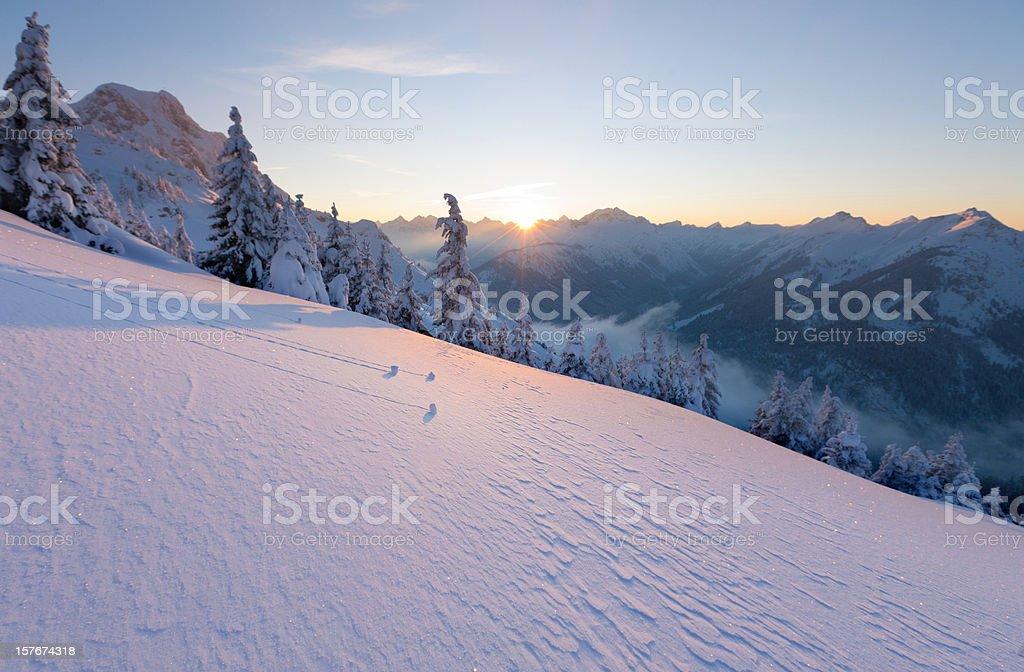 sun set at mt. hahnenkamm royalty-free stock photo