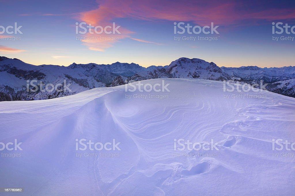 sun set at mt. tegelberg, bavarian alps, germany royalty-free stock photo