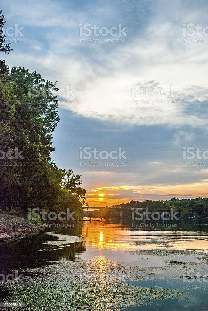 Sun set at Savannah River, Augusta GA stock photo