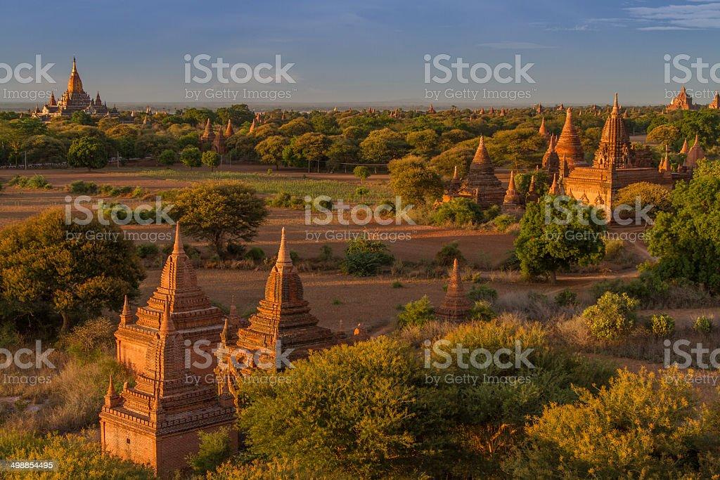 Sun set at the archeological site of Bagan (Myanmar) stock photo