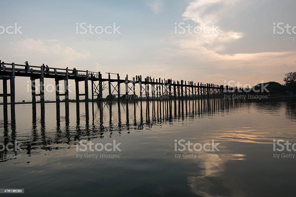 Sun set at U Bein Bridge, Mandalay, Myanmar stock photo