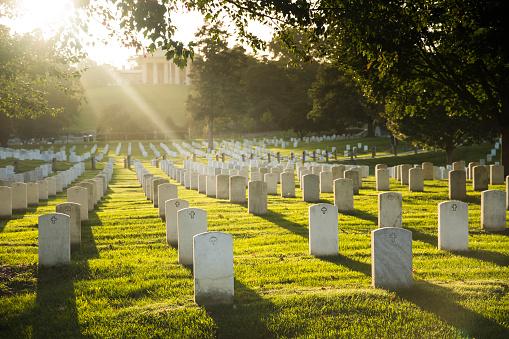 Sun sets over Arlington Cemetery