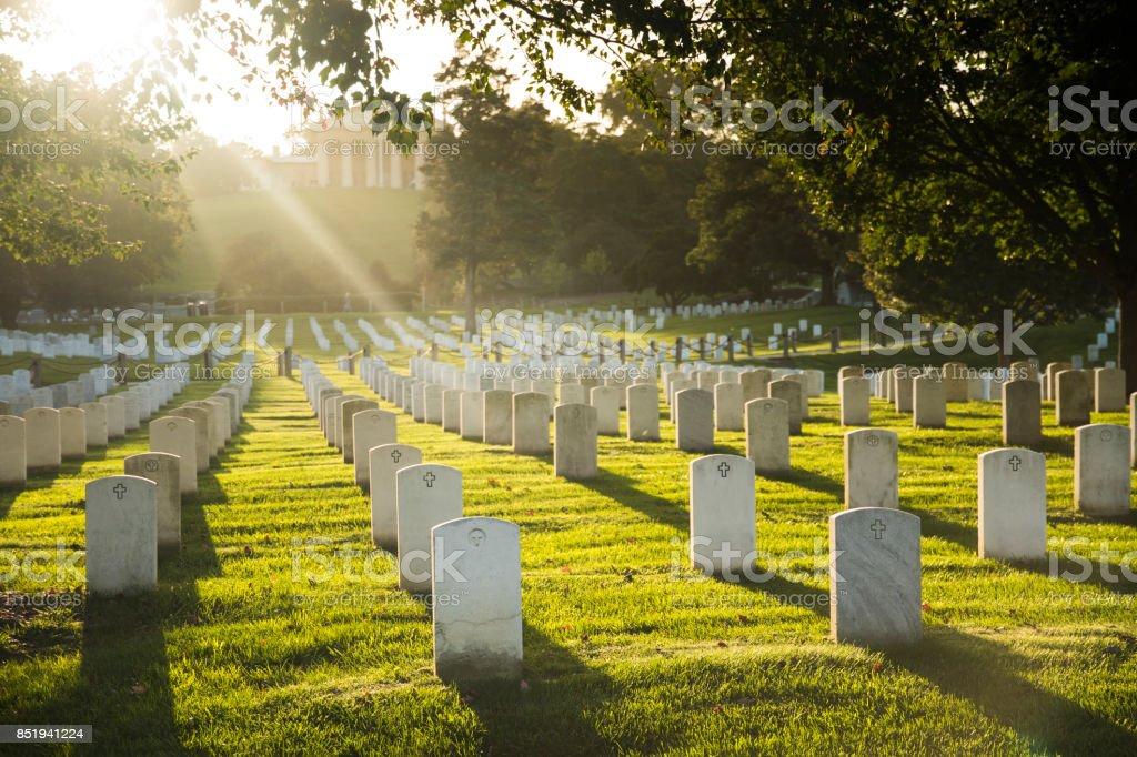 Sun sets over Arlington Cemetery stock photo