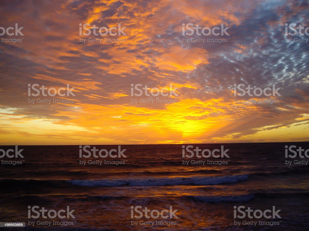 Sun sets over Mazatlan stock photo