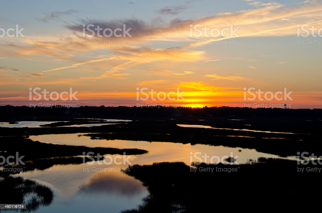 Sun Sets Over the Intercoastal Waterway stock photo