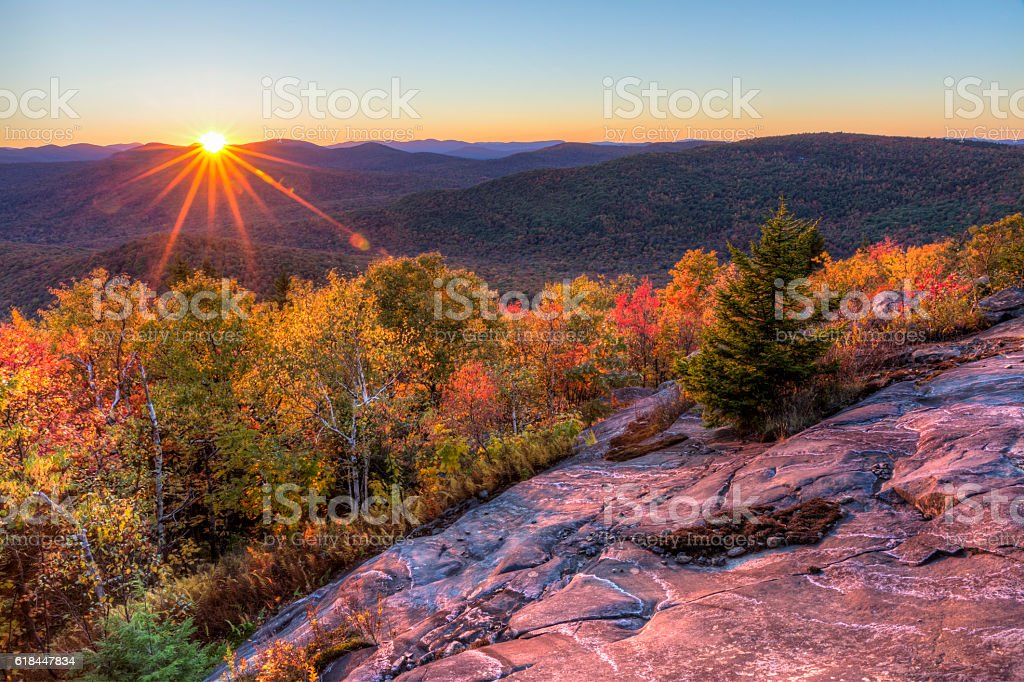 Sun Setting Behind Seneca Mountain stock photo
