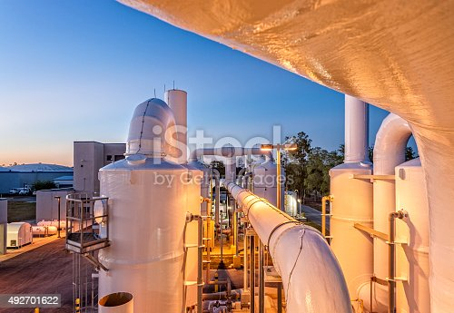 Night time shot of a degassification water system at a public water utility company.