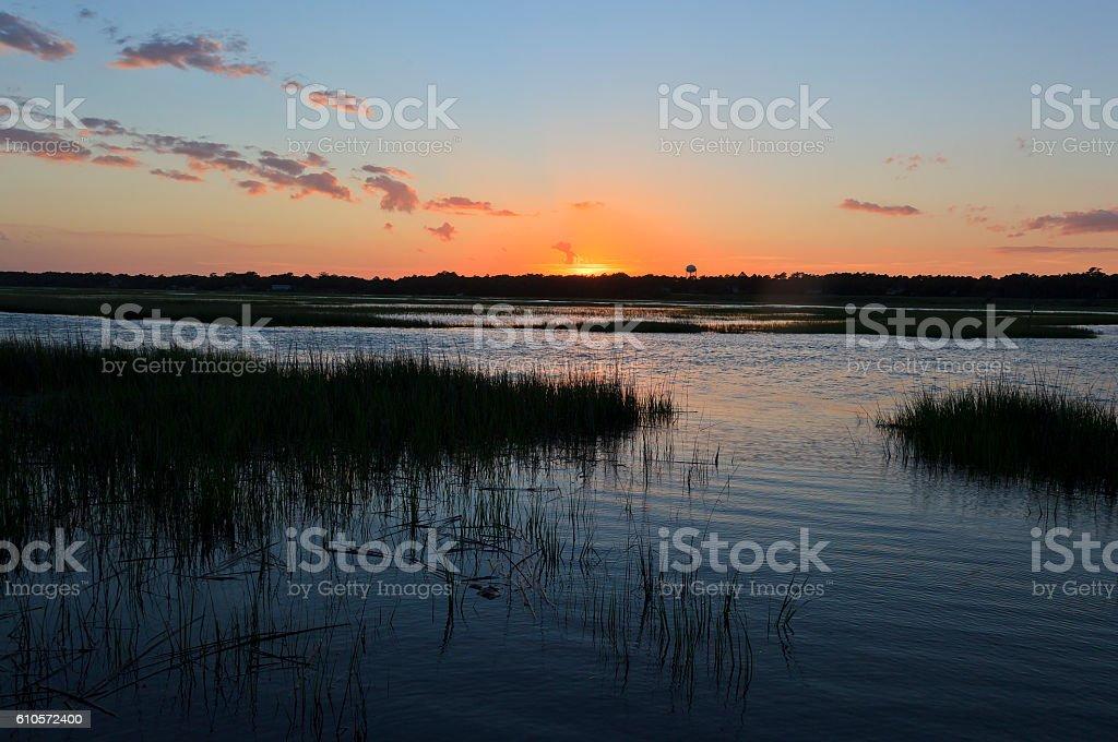 Sun Setting Over Canal Waters - foto de stock