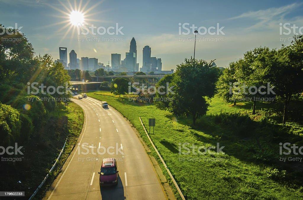 sun setting over charlotte north carolina a major metropolitan c stock photo